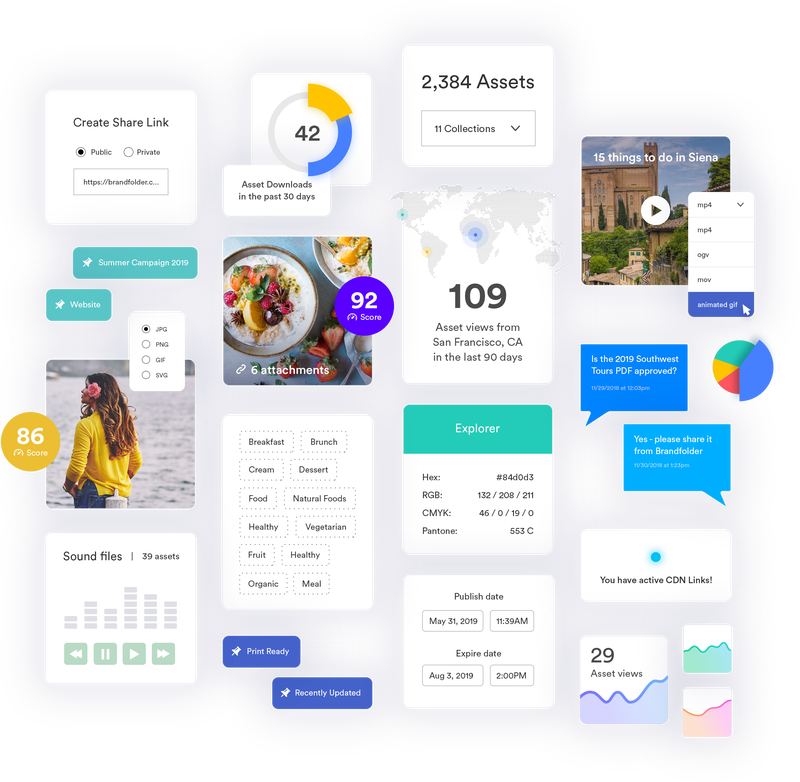 A collage of digital assets