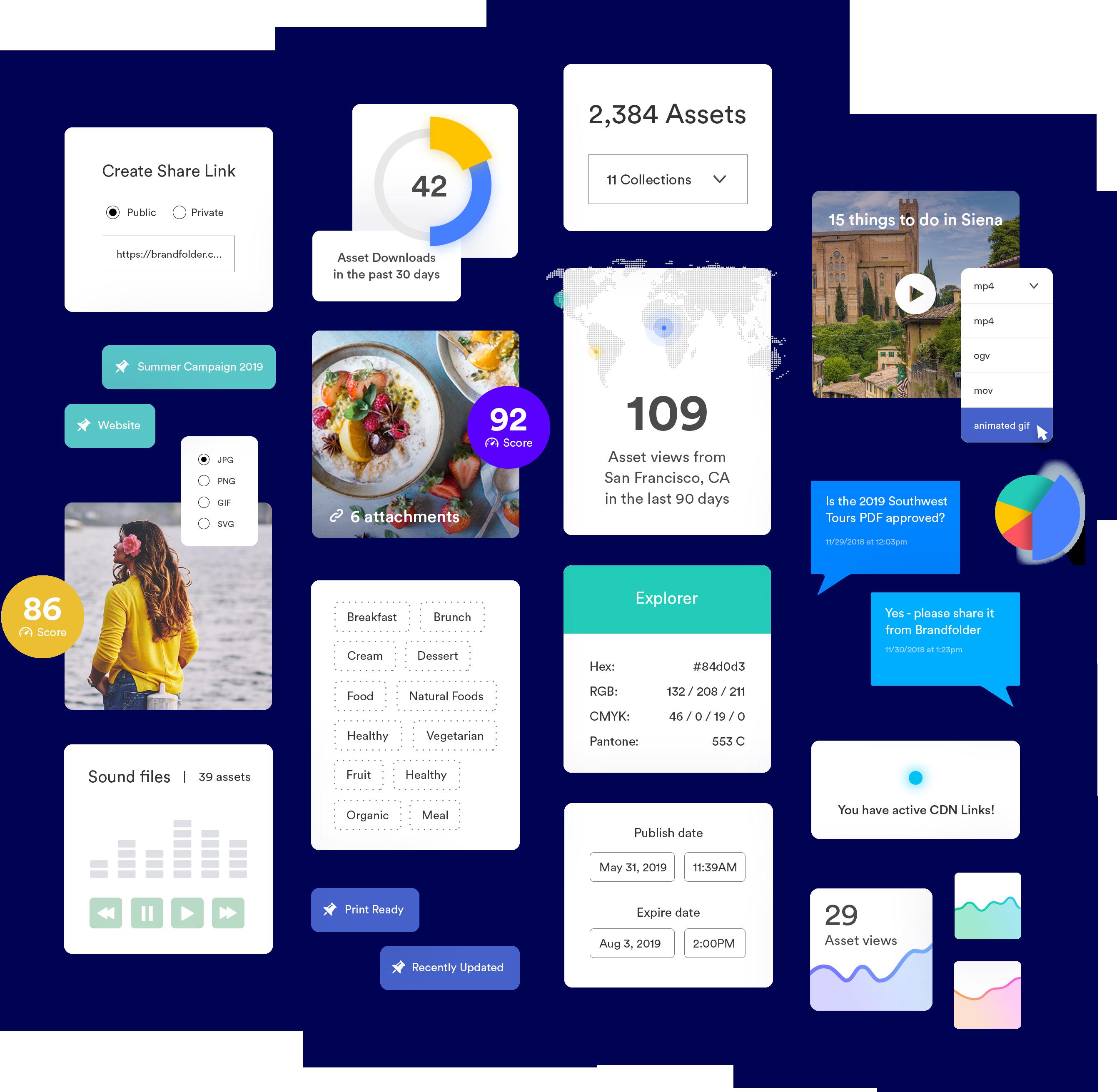 Collage of asset types in Brandfolder