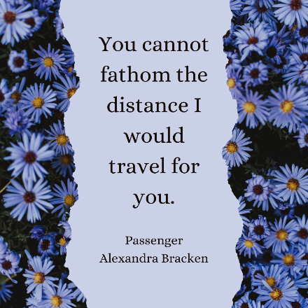 Quote from book with background blue flowers