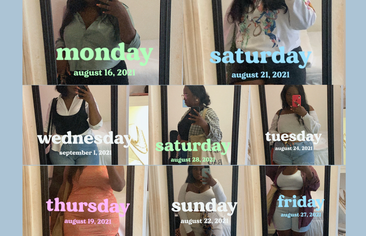 Original photo of Amariyah Callender wearing different outfits.
