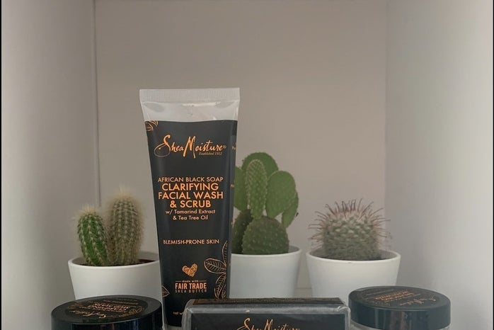 Skincare on white background with cacti.