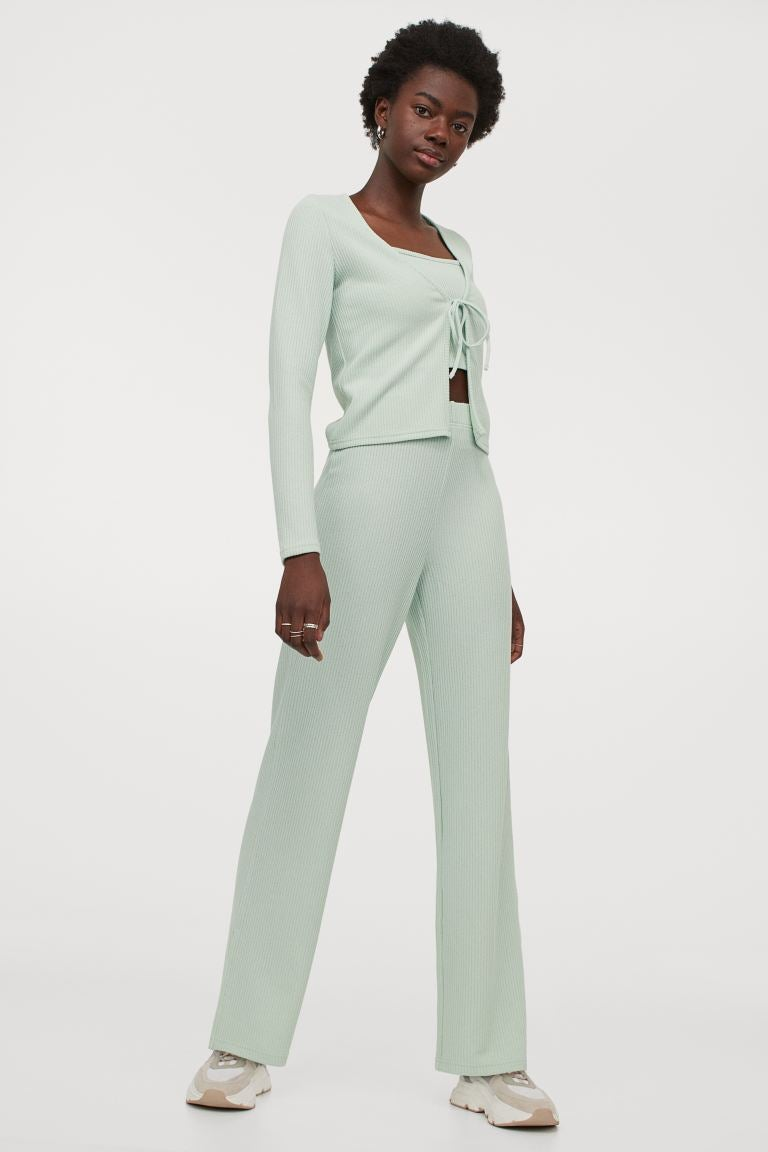 Ribbed Flared Pants in Mint Green