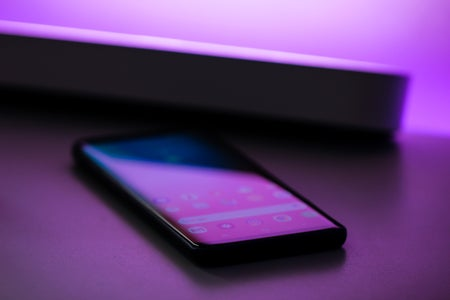 Cell Phone in purple light