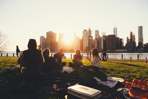 people sitting on grass in front of a city skyline