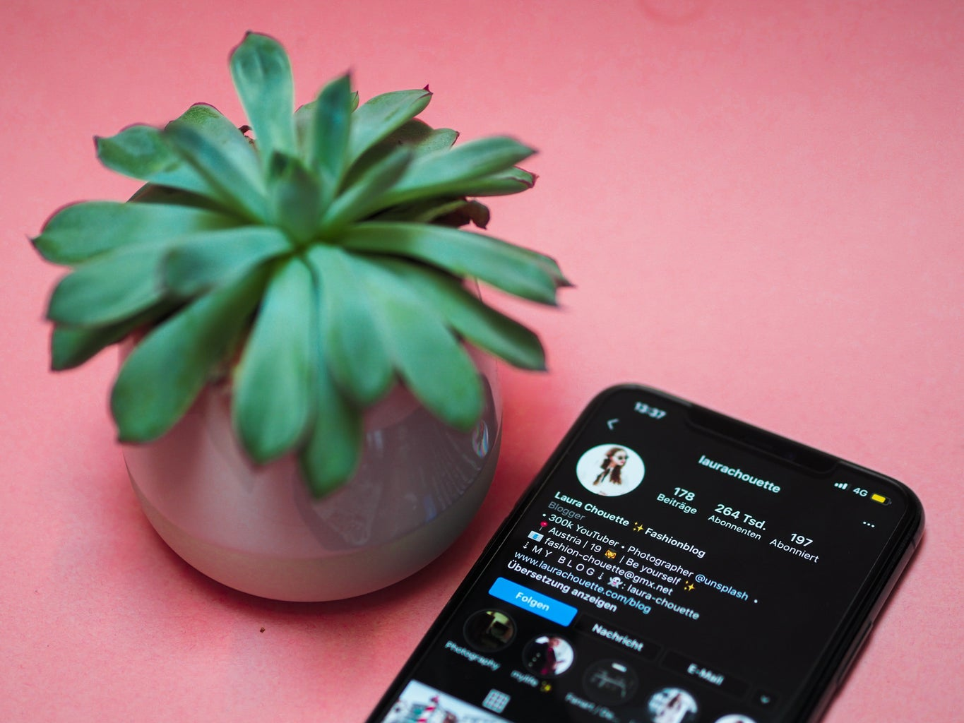 An iphone (in the screen you can see the app of instagram open) next to a plant