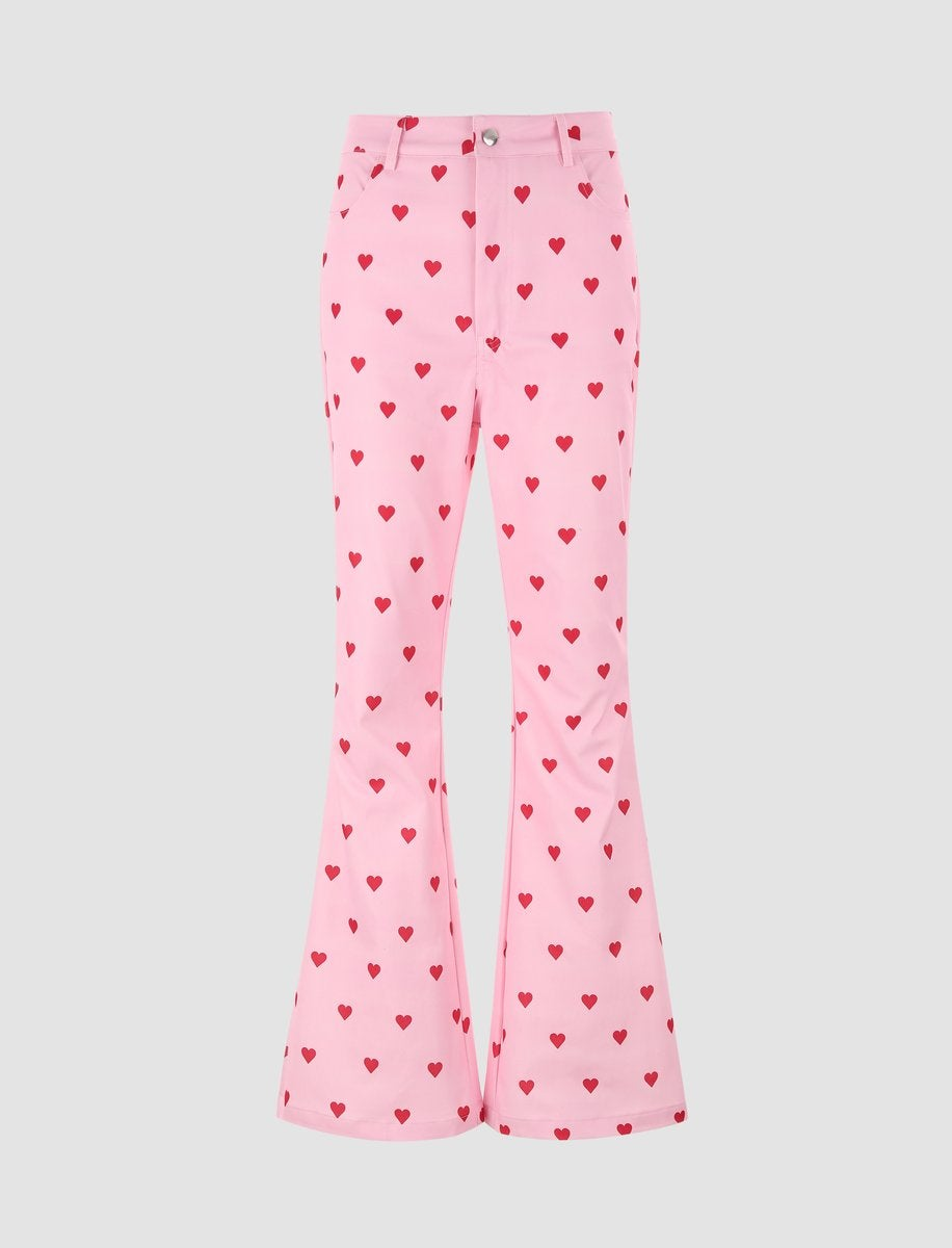 Heart Pattern Pink Flares