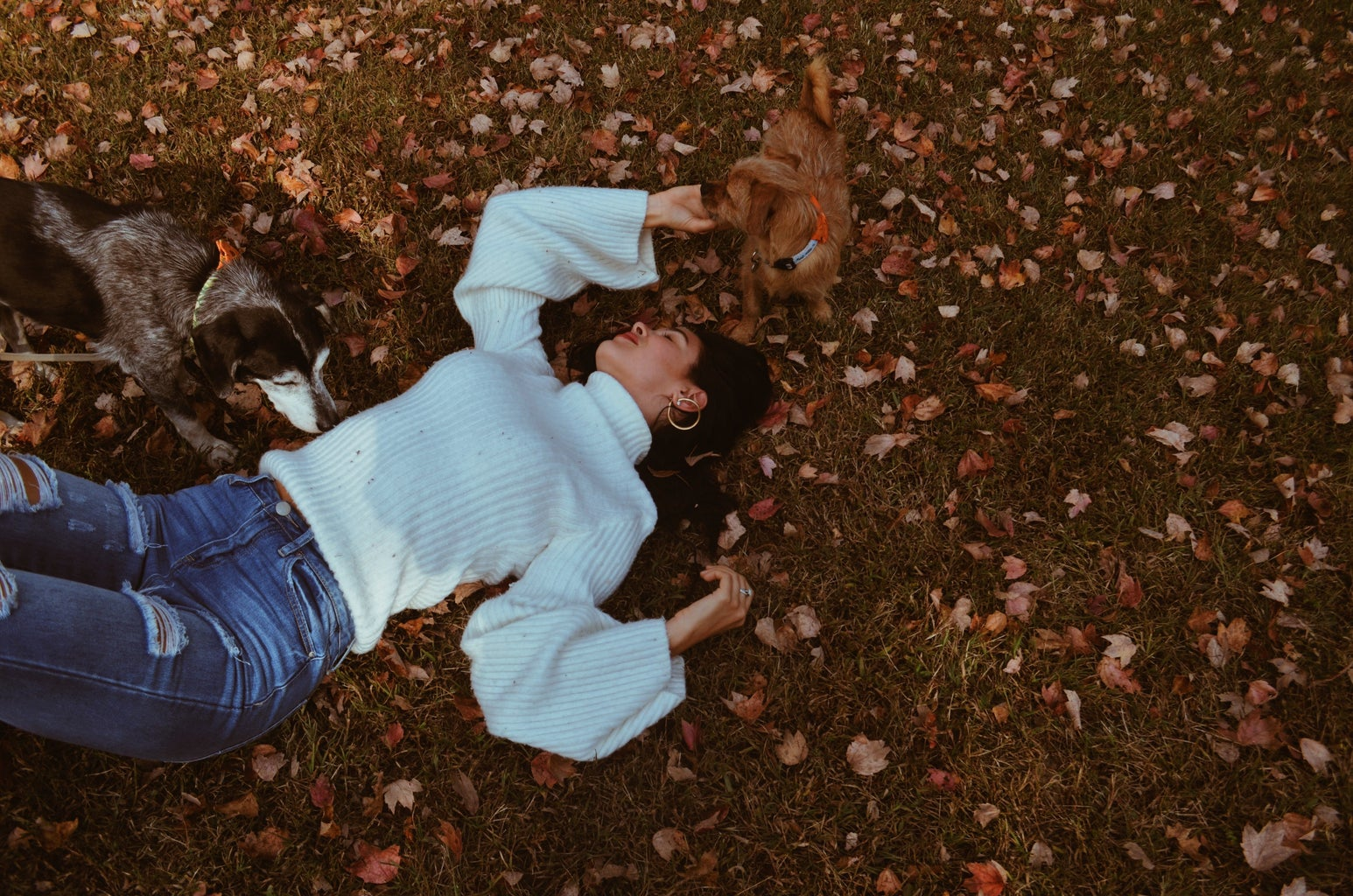 woman lying on ground with leaves