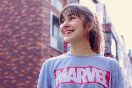 woman wearing a Marvel shirt