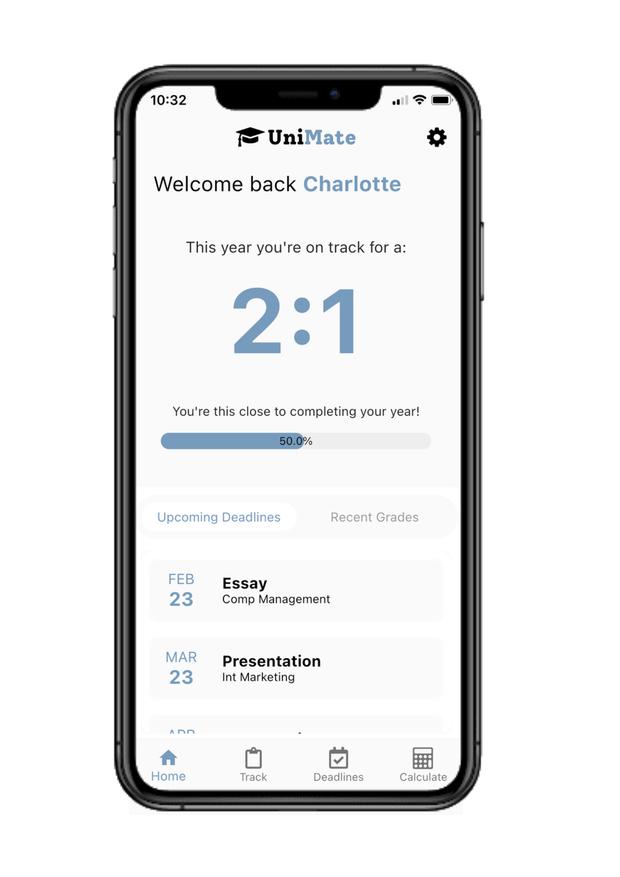 Photo demonstrating how UniMate app works