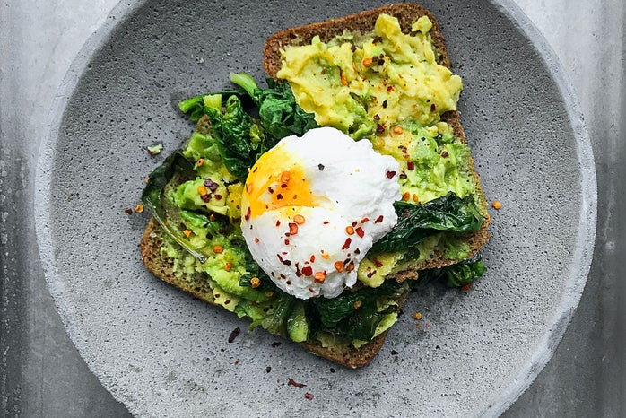 Toast with avocado and egg on top