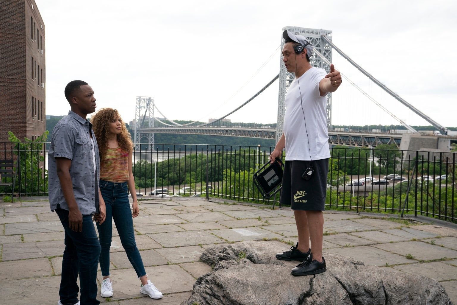 In the Heights Picture Two: Leslie Grace, Corey Hawkins + Jon M. Chu