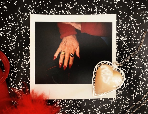 vintage photo of woman's hands and antiques
