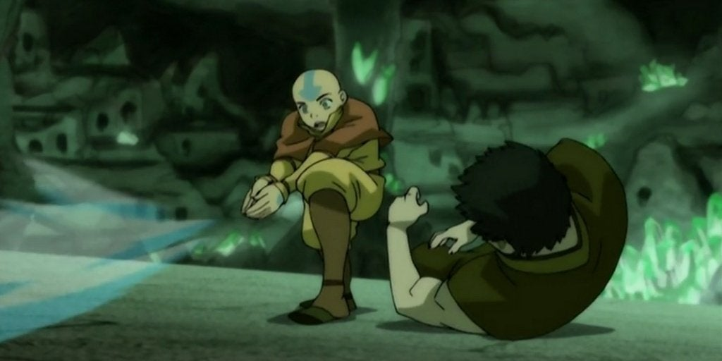 Aang and Zuko battling each other
