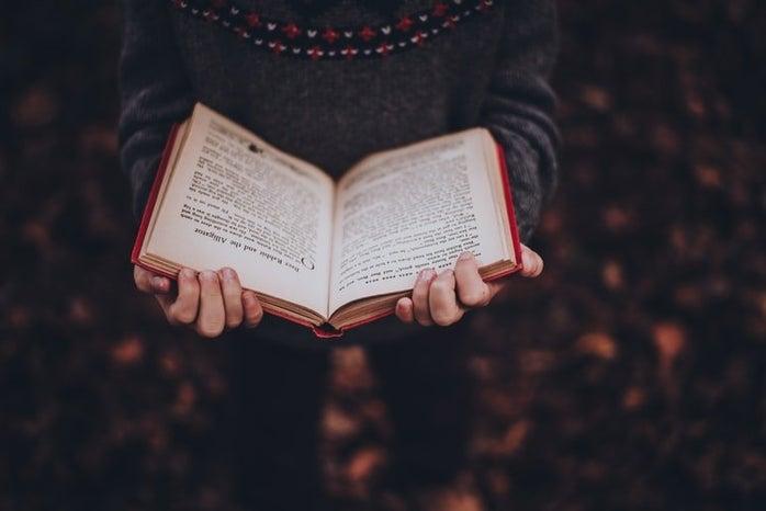 open book in fall