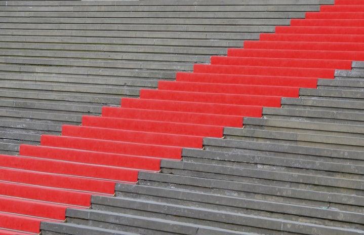 Red carpet on steps