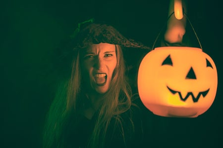 Witch with a pumpkin