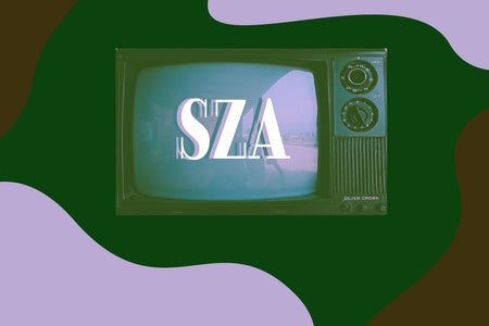 Unsplash image of TV screen with the letters SZA on it with green, brown, and pink.