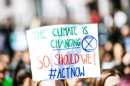person holding a climate change protest sign