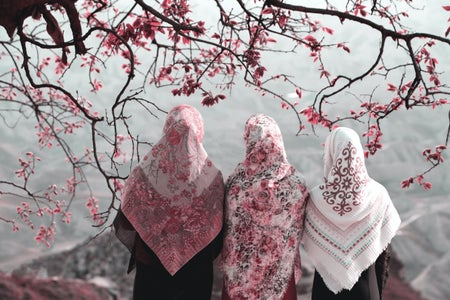 Three muslim women under a cherry blossom tree