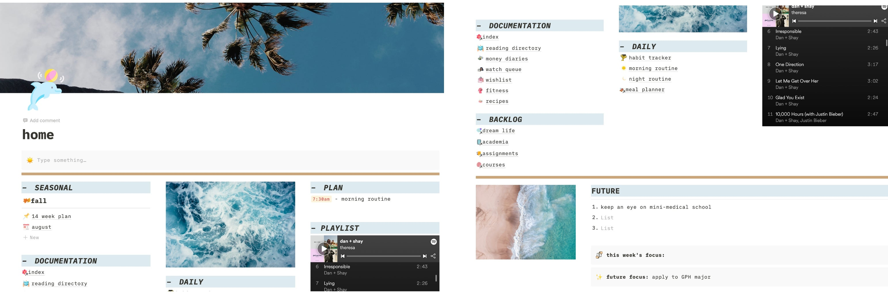 Photos of my personal Notion page taken using the screenshot feature on my latpop