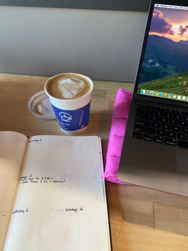 coffee on desk