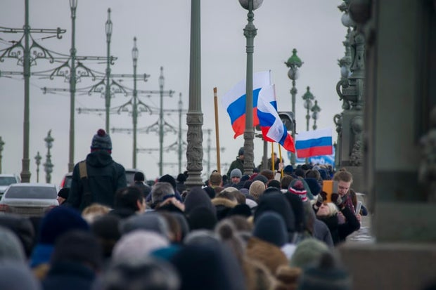 Protests Russian Crowd and Flags