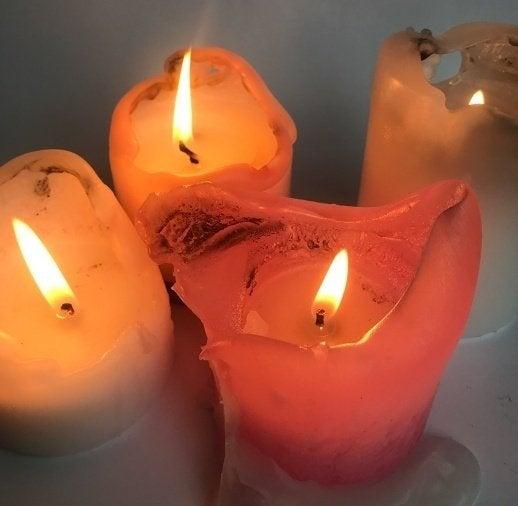 Three lit candles