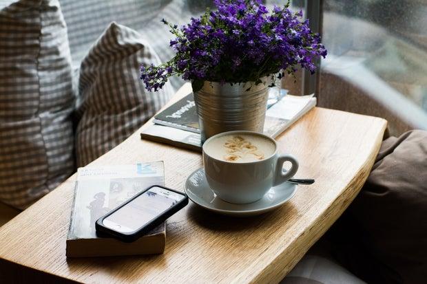 coffee, flower, phone, book, table