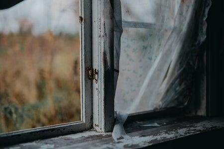 white frame window
