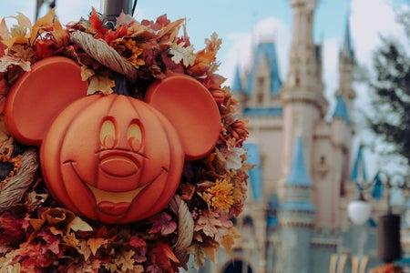 mickey head pumpkin wreath