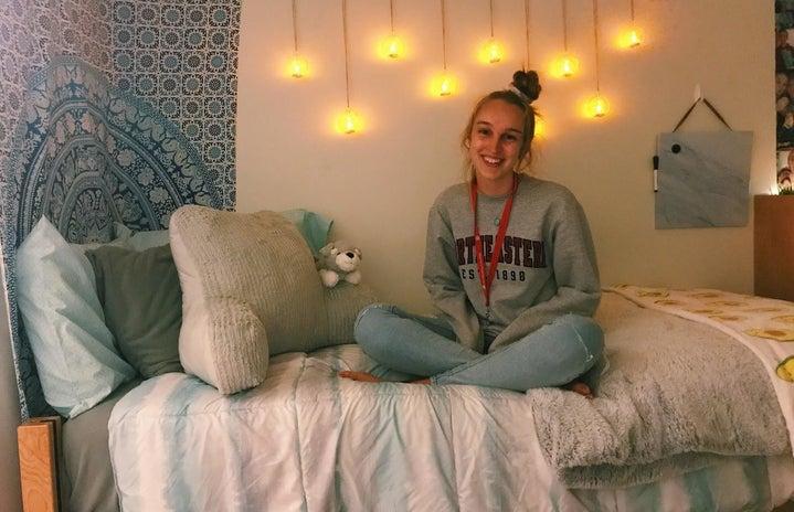 Author in dorm room