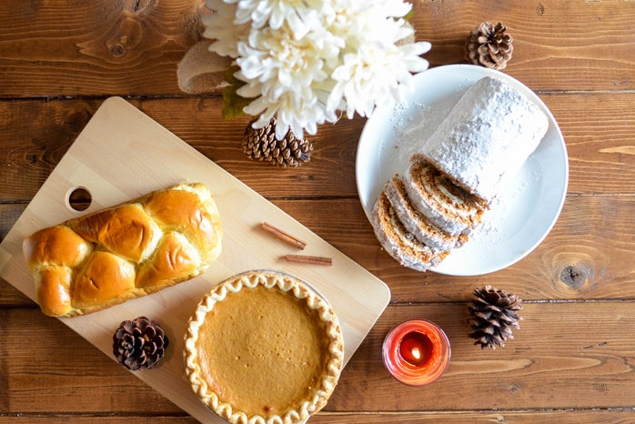 food spread with bread, pastry, and pie