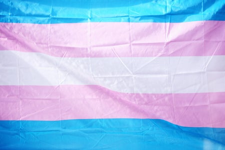 Transgender flag celebrating LGBTQ Pride for June, 2019.