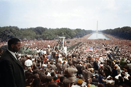 Large crowd at Lincoln Memorial