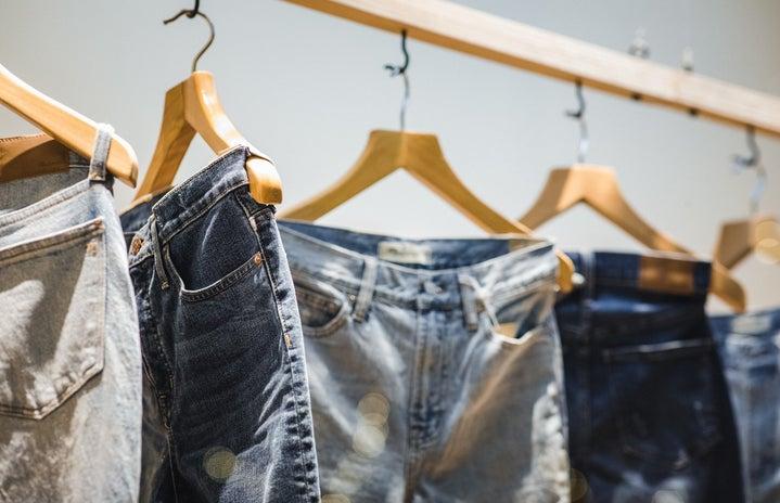 Clothing rack displaying jeans
