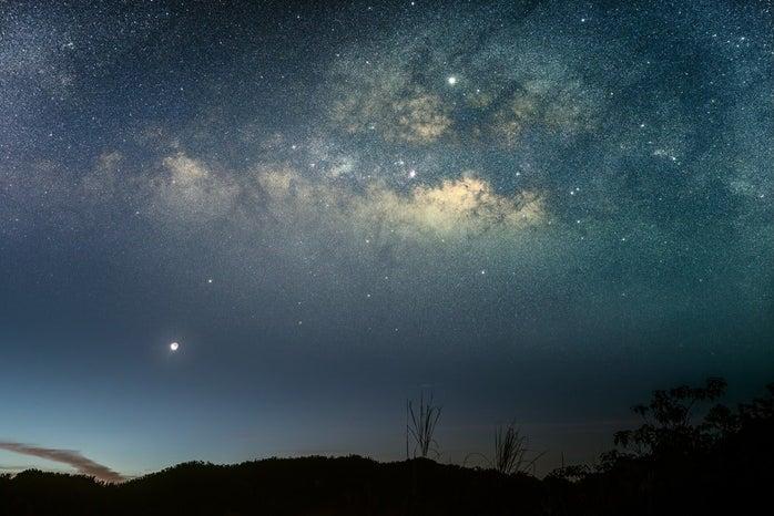 Crescent Moon, Venus, Jupiter and the Milky Way