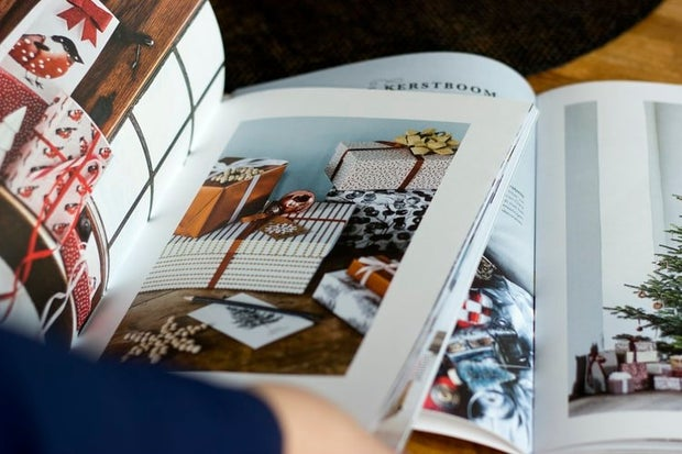 close up of magazine with furniture