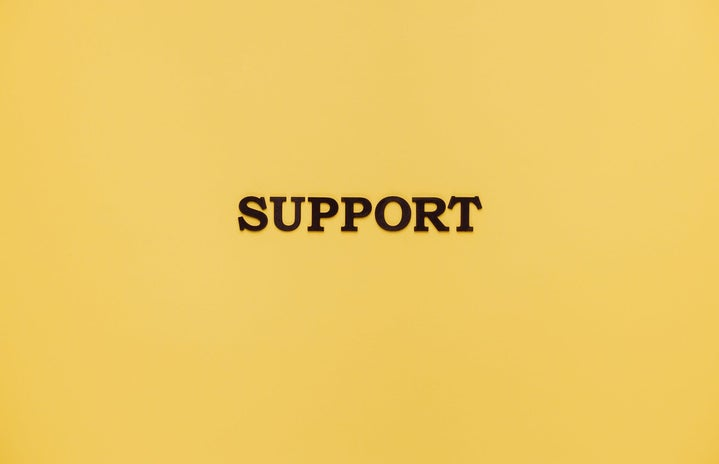 Support sign with yellow background