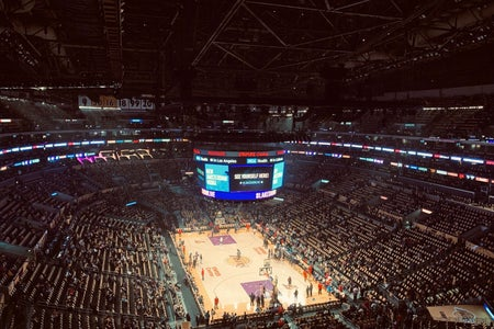 top view of the Lakers basketball court during a game.