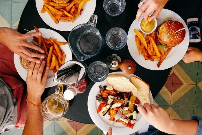 Friends Eating Fries and burgers