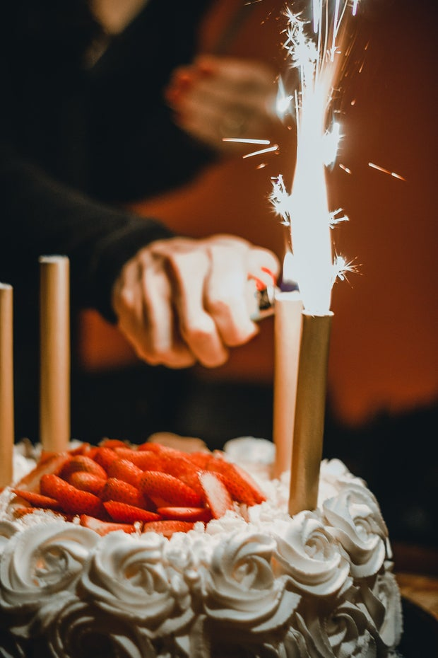 Birthday Cake being lit