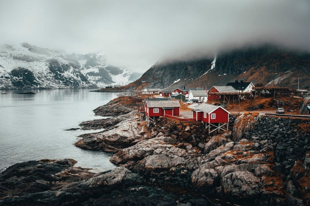 village with red houses in Norway