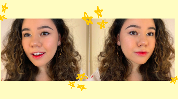 Selfies of a girl showing off her lip color in front of a yellow background.