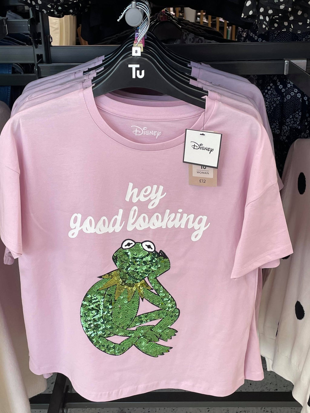 Pink T-shirt with Kermit the frog and white lettering