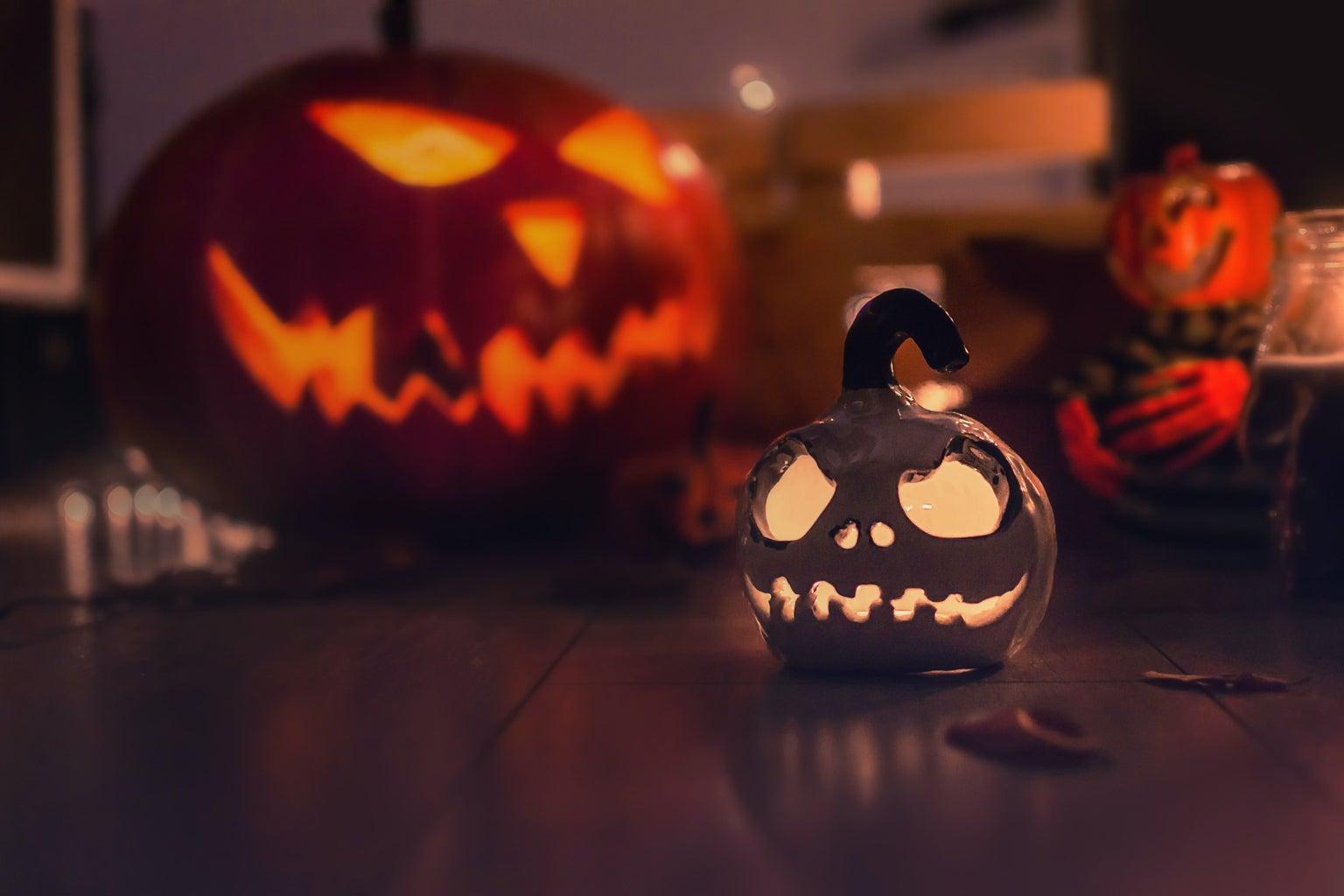 Orange and gray jack-o-lantern