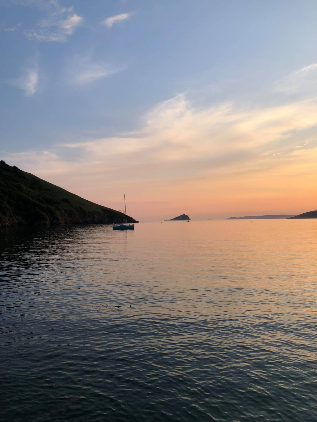 sunset, sea and fields in Noss Mayo