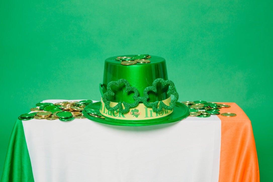 Green hat with Irish flag