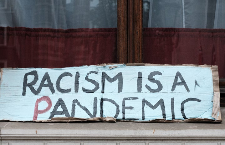 racism is a pandemic protest sign