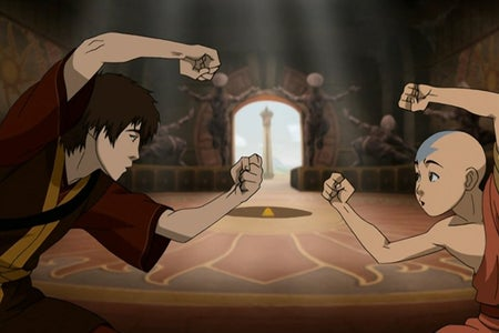 Zuko and Aang looking at each other and holding their arms up