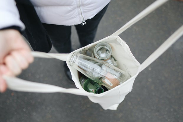 glass bottles in Reusable bag